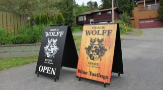 Set of custom sandwich boards for a local winery