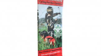 Local group picked up this inexpensive banner stand for trade shows.