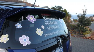 Bright printed flowers and cut vinyl for this retired, new entrepreneur.