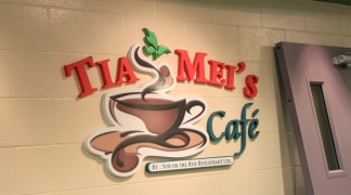 CNC foam text, painted and with printed decals, give this indoor sign a pop for the old Cafe in the Aquatic Centre.