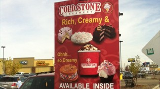 We designed, printed and shipped these signs up to Edmonton for a Coldstone location in Walmart!