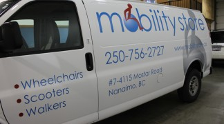 The big printed grey icon and the cut blue vinyl, looks fantastic on this white van.