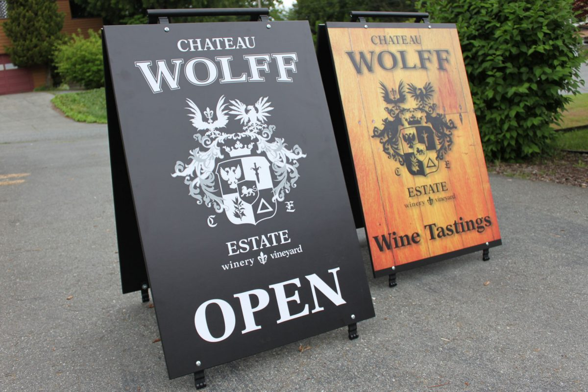 Chateau Wolff Estate Wood Sandwich Board