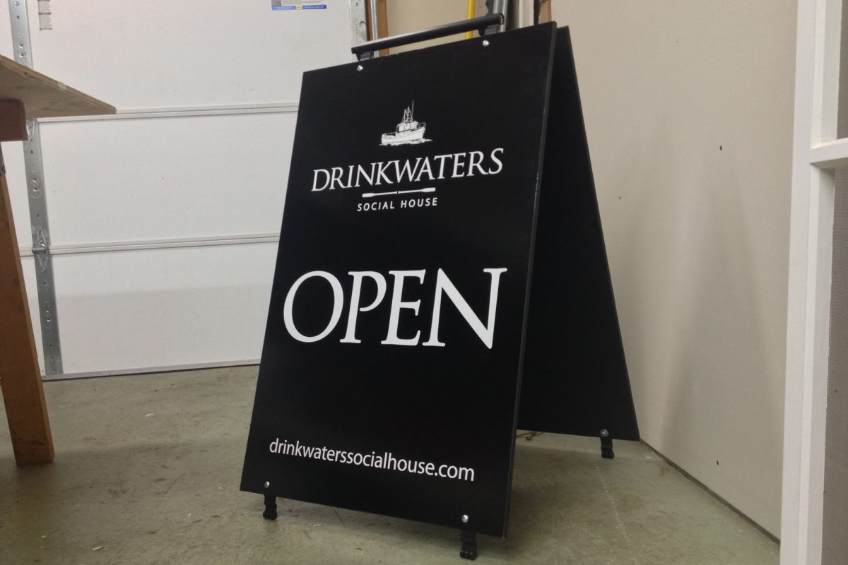 Drinkwaters Social House Wood Sandwich Board