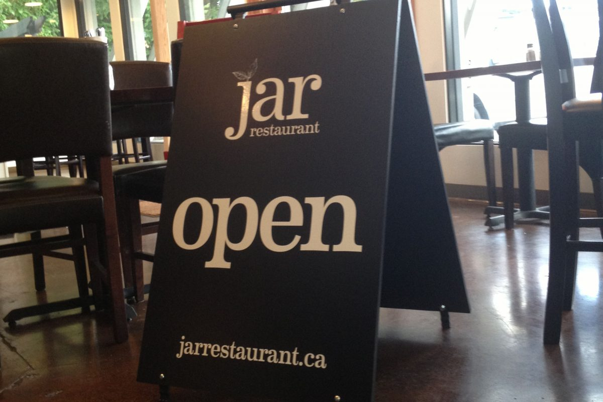 Jar Restaurant Wood Sandwich Board