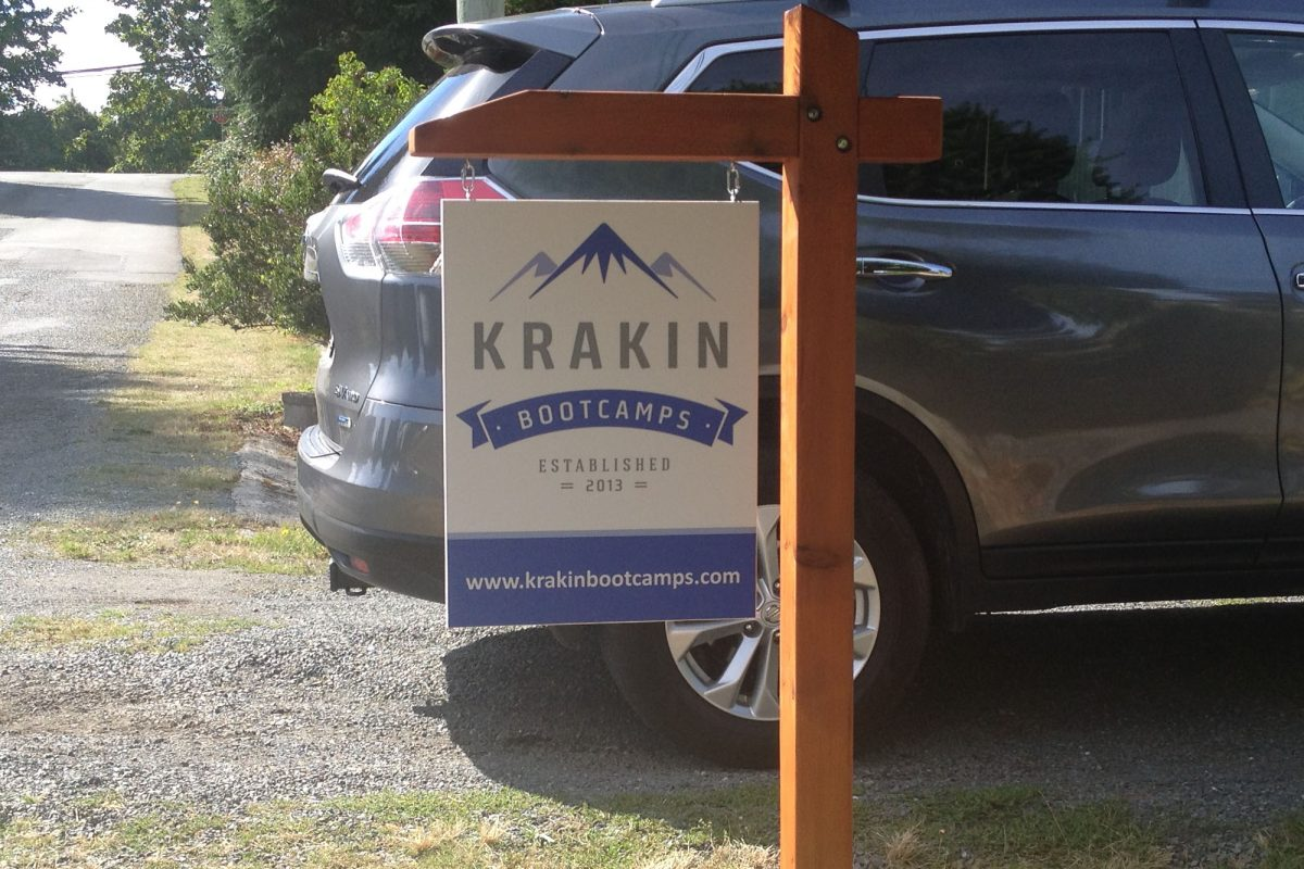 Krakin Bootcamp Wood Sign