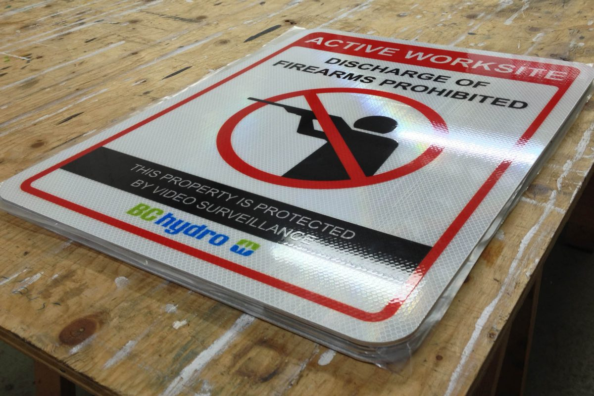 BC Hydro Reflective Solid Aluminium Sign