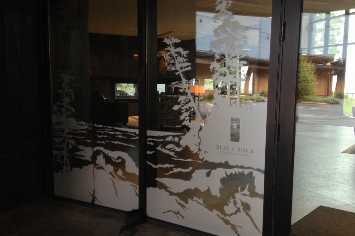 Black Rock Resort Lobby Window Etch Film 2