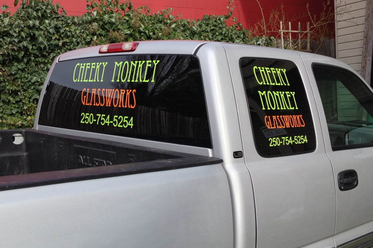 Cheeky Monkey Glass Cut Vinyl Vehicle Decals