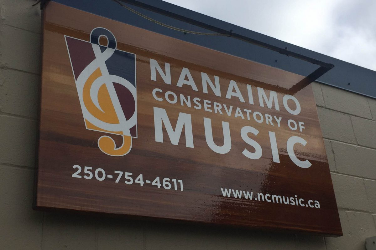 Nanaimo Conservatory of Music Wood Sign