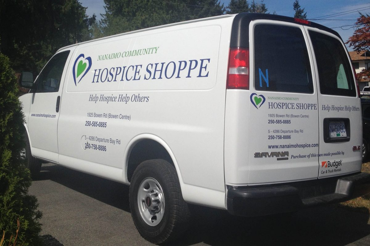 Nanaimo Hospice Shoppe Cut Vinyl Vehicle Decals