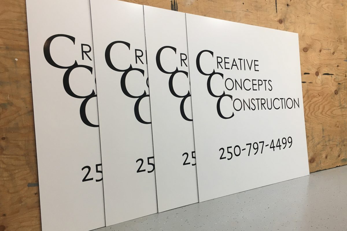 Aluminum panel and cut vinyl sign