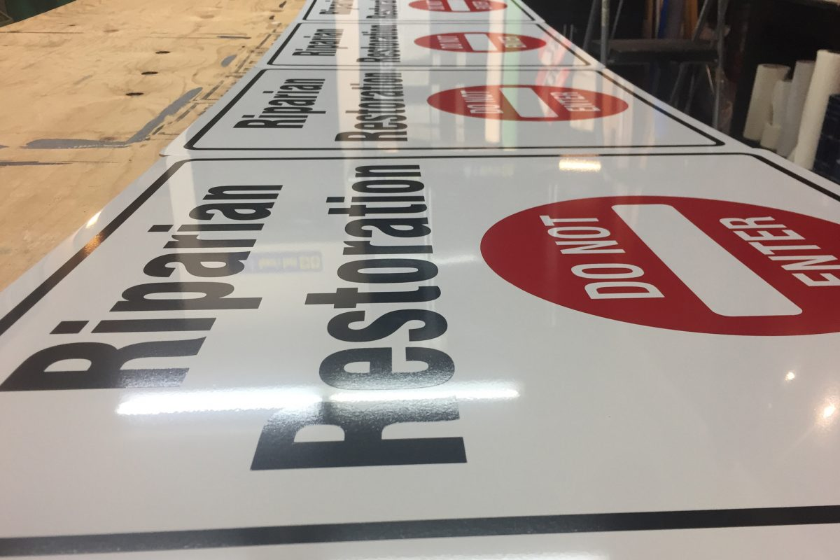 Solid aluminum and cut vinyl signs
