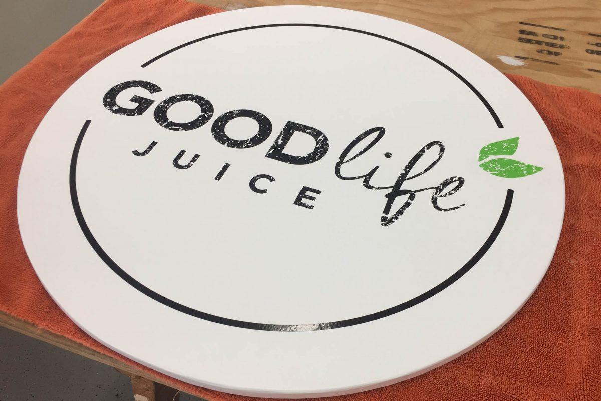 Good Life Juice Hanging Sign