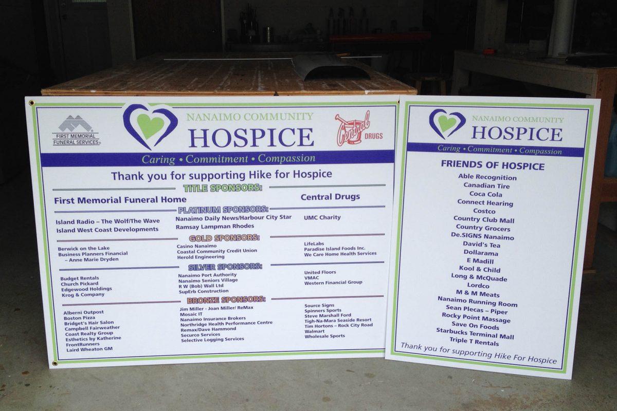 Nanaimo Hospice Printed Coroplast Signs