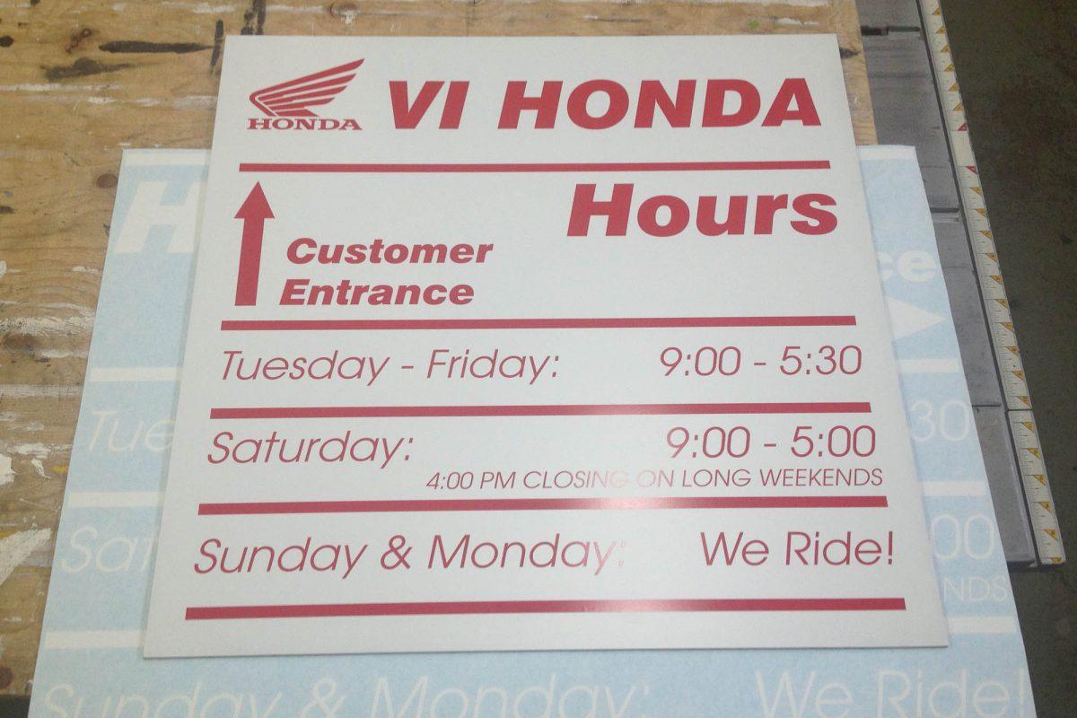 VI Honda PVC Sign