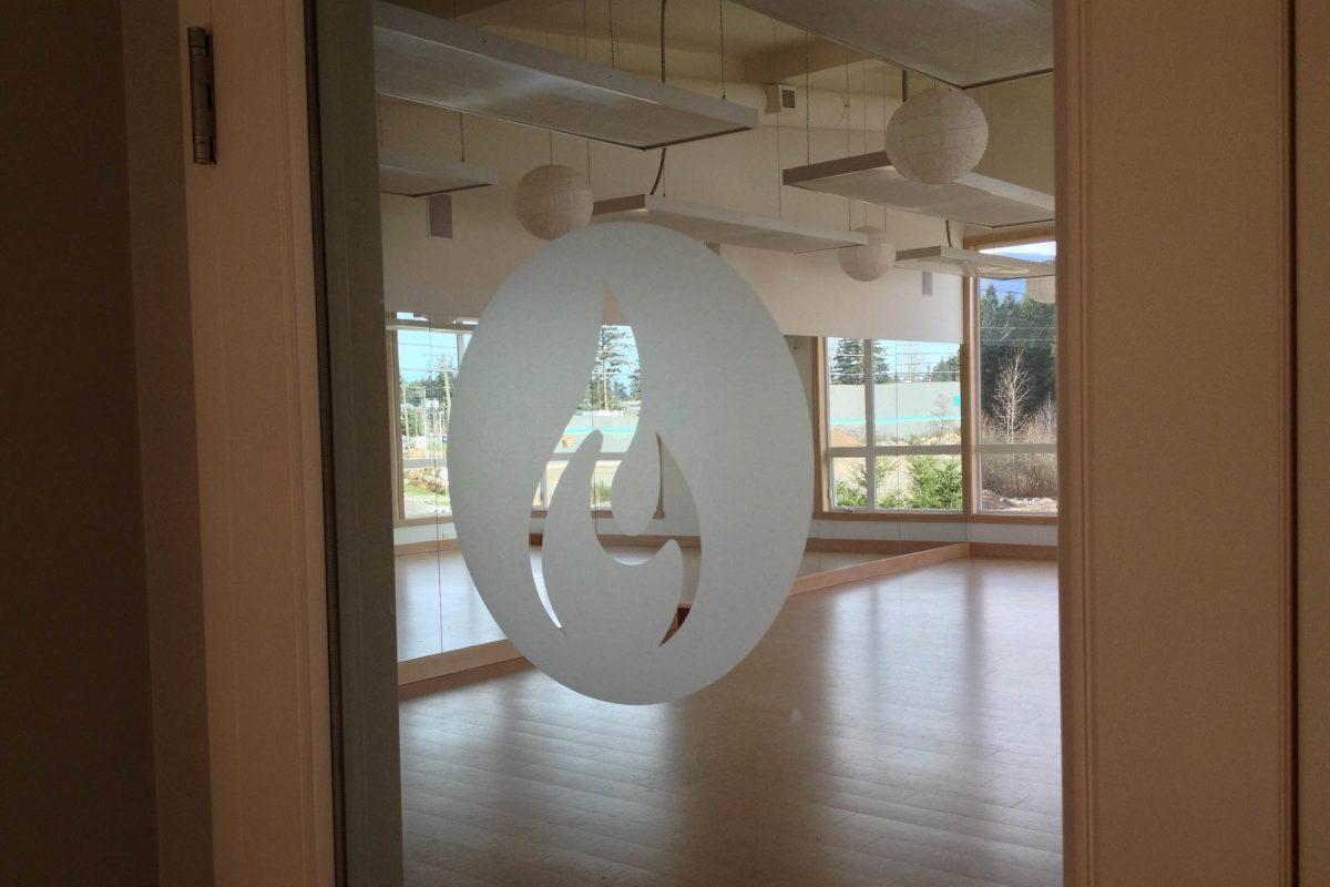Yoga Studio Door Logo Window Etch Film